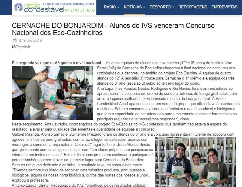 Alunos do IVS venceram Concurso Nacional dos Eco-Cozinheiros, in Rádio Condestável