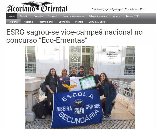 """ESRG sagrou-se vice-campeã nacional no concurso """"Eco-Ementas"""", in Açoriano Oriental"""