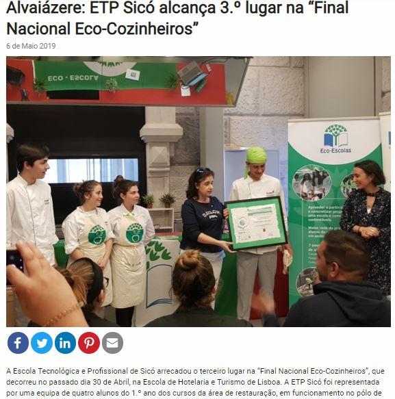"""Alvaiázere: ETP Sicó alcança 3.º lugar na """"Final Nacional Eco-Cozinheiros"""", in Jornal Terras de Sicó"""