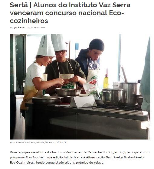 Alunos do Instituto Vaz Serra venceram concurso nacional Eco-cozinheiros, in mediotejo.net