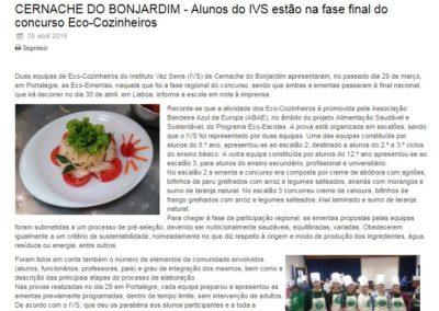 Alunos do IVS estão na fase final do concurso Eco-Cozinheiros , in Rádio Condestável